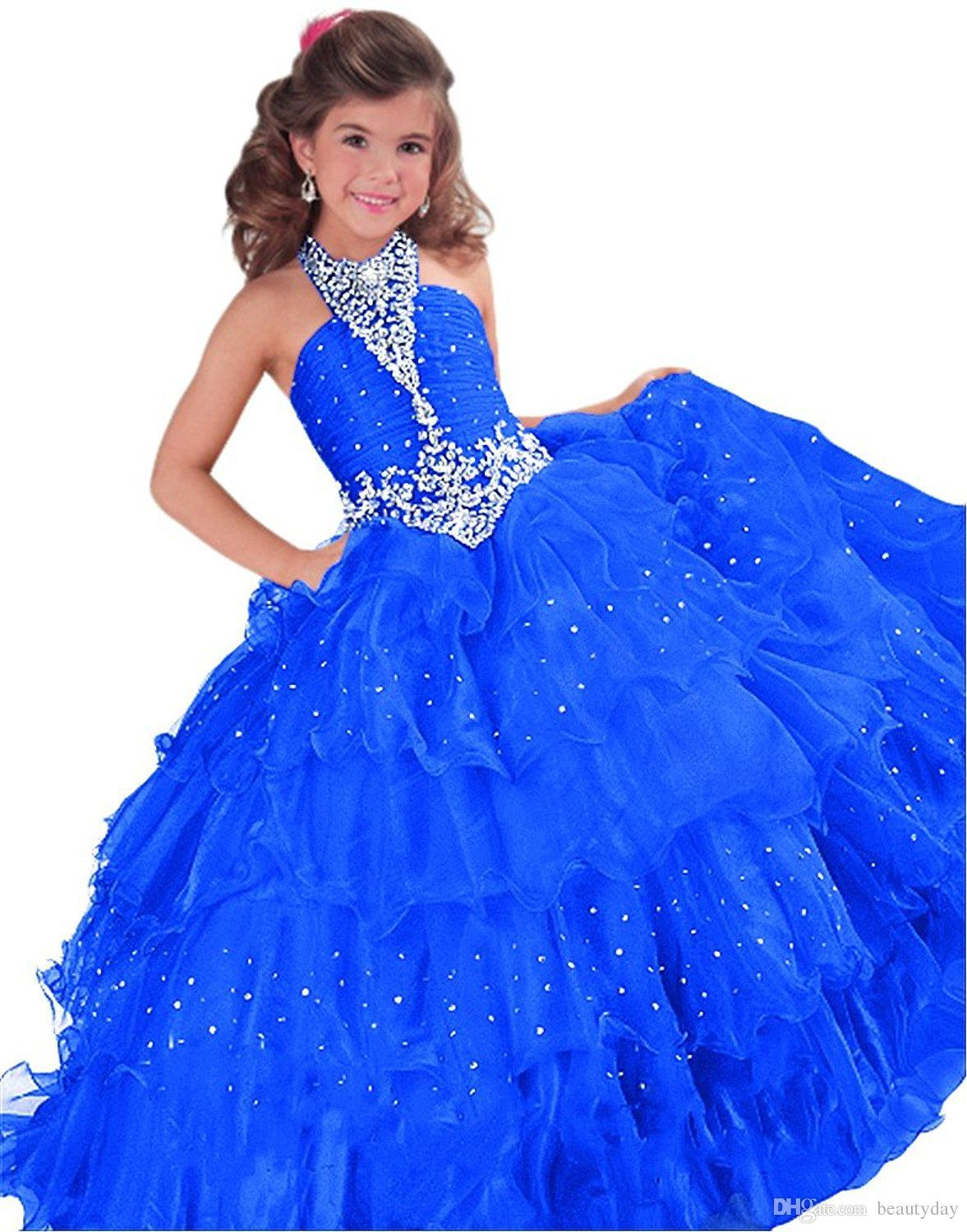 New Girls Pageant Dresses Little Toddler Kids Ball Gown Royal Blue Red Orange Tulle Glitz Flower Girl Dress For Weddings Party Gowns Beaded