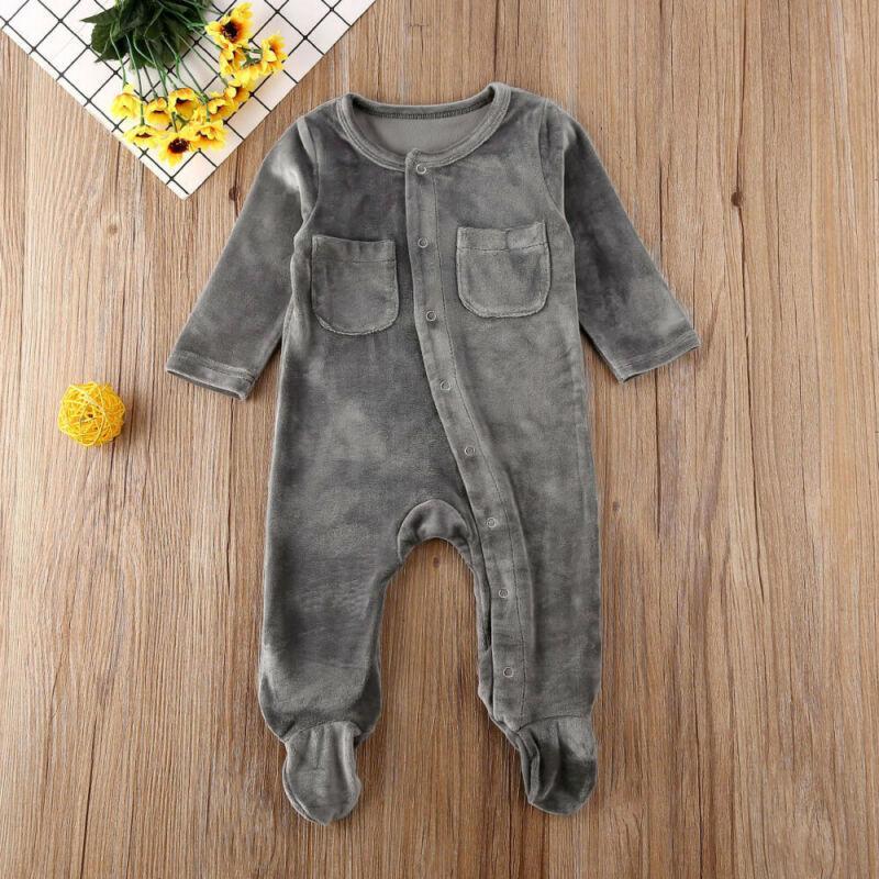 Yenidoğan Bebek Kız Bebek Boy Romper Giyim Kadife Katı Uzun Kollu Tek Breasted Romper Jumpsuit Kıyafetler