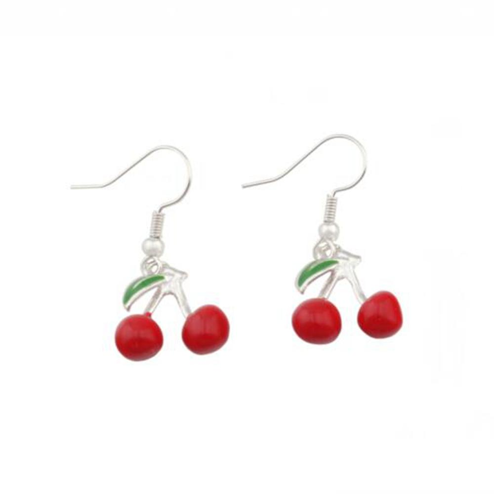 Red Enamel Cherry Fruit Charm Earrings Silver Fish Ear Hook 20pairs/lot Antique Silver Chandelier Jewelry