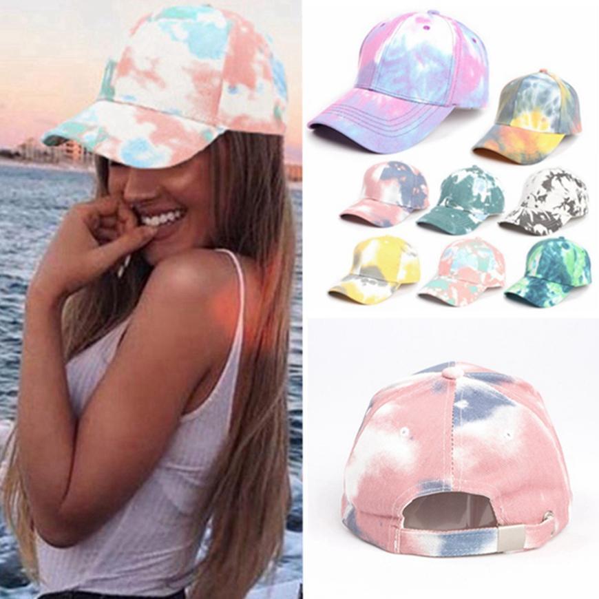Gradiente boné de beisebol Tie-dye Designer Bones Primavera-Verão colorido Sun Hat Moda Outdoor Sports Hip-hop Cap frete grátis HHA1425