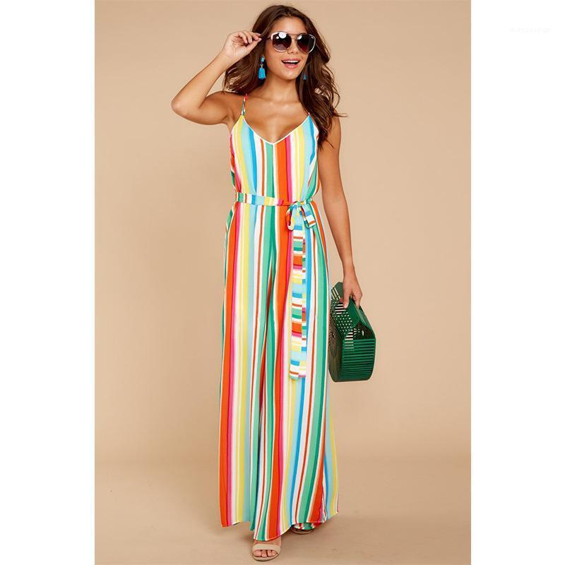 Ancho de banda atractiva floja de la pierna ancha pieza de suspensión pantalones de la playa ropa de la manera verano de las mujeres la raya del color del mono
