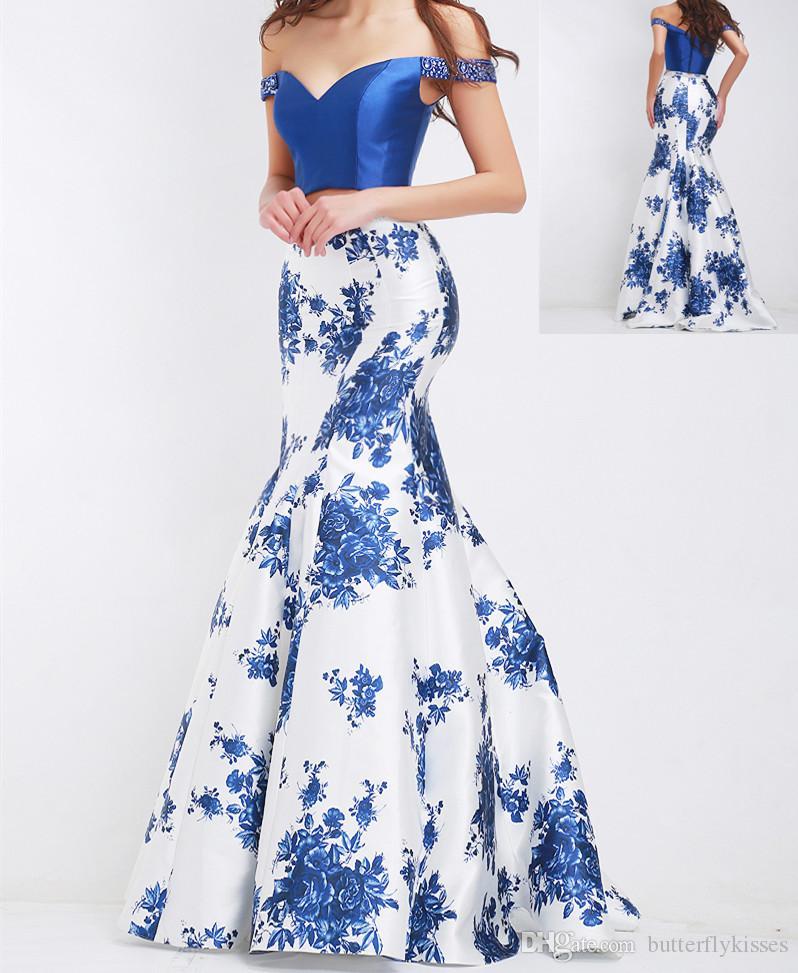 Mode bleu Deux pièces Robes de bal 2019 Sexy Encolure Perles V-Neck Robes de soirée fleurs Custom Plus Taille sirène robe de bal