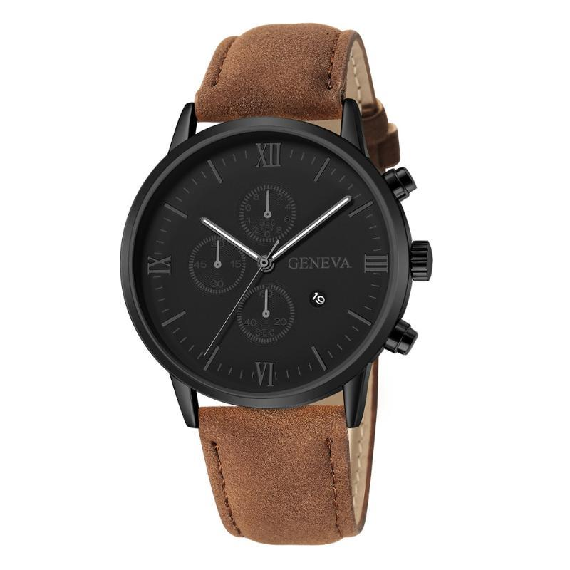 Moda Mens Relógios Negócios Dial Esporte de pulso de quartzo de couro de luxo Belt simples relógio de pulso 2020 Relogio Masculino * M