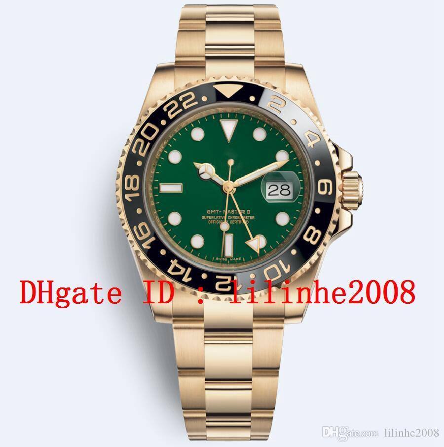 de Homens de alta qualidade Assista GMT II 126710 116718 Automatic Ceramic Bezel Data Green Sport Disque ouro amarelo 18K Mens Relógios