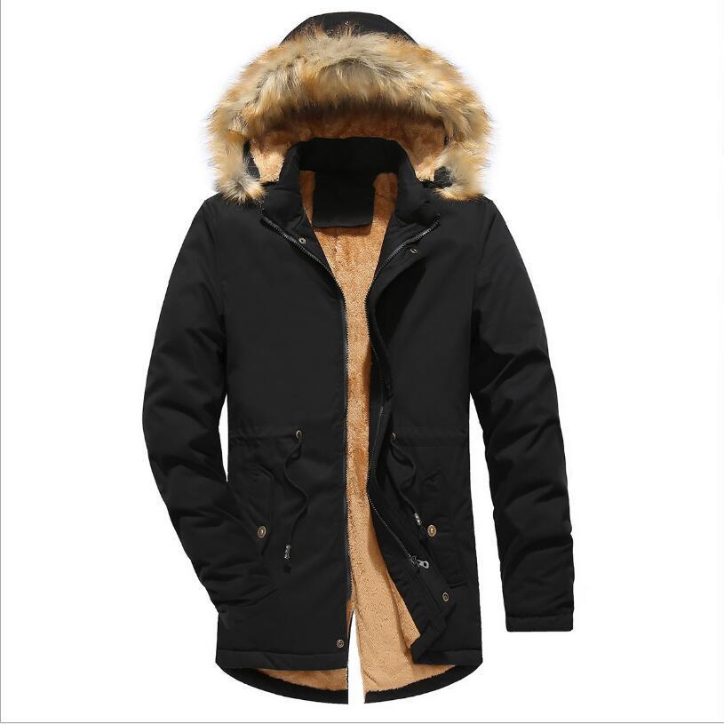 Hombres de invierno con capucha Chaquetas Parkas caliente larga de nuevo de la manera invierno de los hombres más grueso caliente capas largas chaquetas Tamaño 3XL