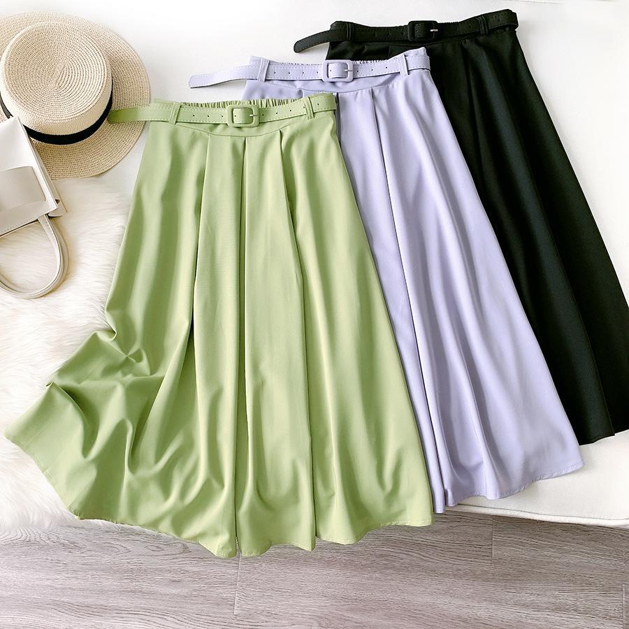 Summer Ice Silk Long Skirt for Women High Waist Women's Midi Skirts with Belt Office Work Faldas Korean Style Jupes Drape Saias