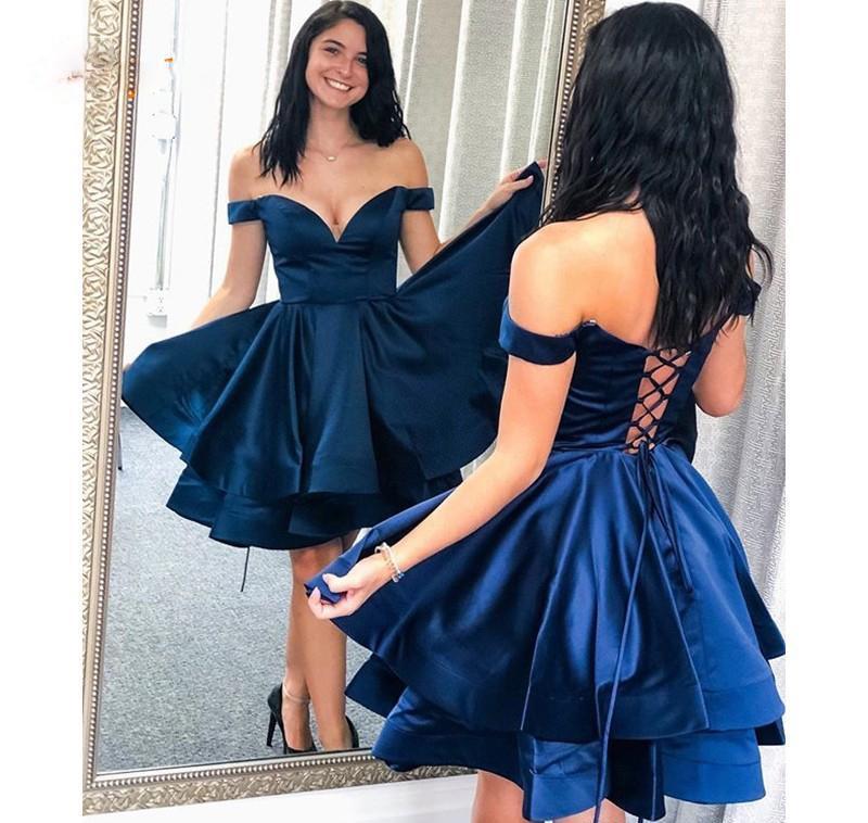 Azul marino Fiesta Vestidos Una línea fuera del hombro TIERS Real Fotos de señora Short del vestido de partido dulces personalizada graduación 16 Vestido encaje de la espalda