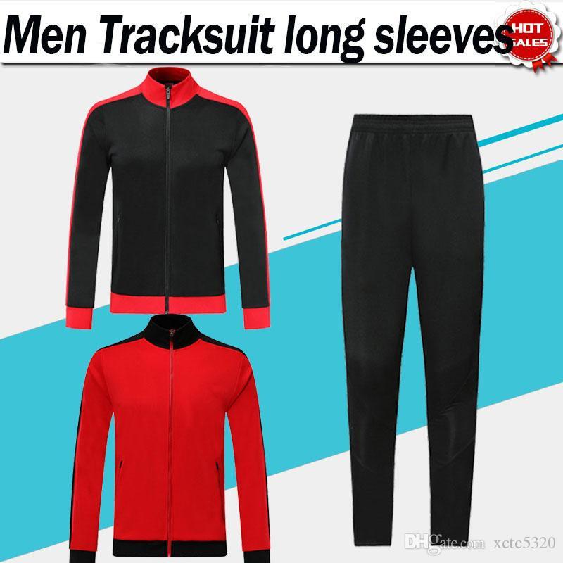 # 9 Piatek Veste costume 120ème ans de football Kit de football 19/20 manches longues Tracksuit roux Hommes Football SweatSuits Noir Veste + pantalon