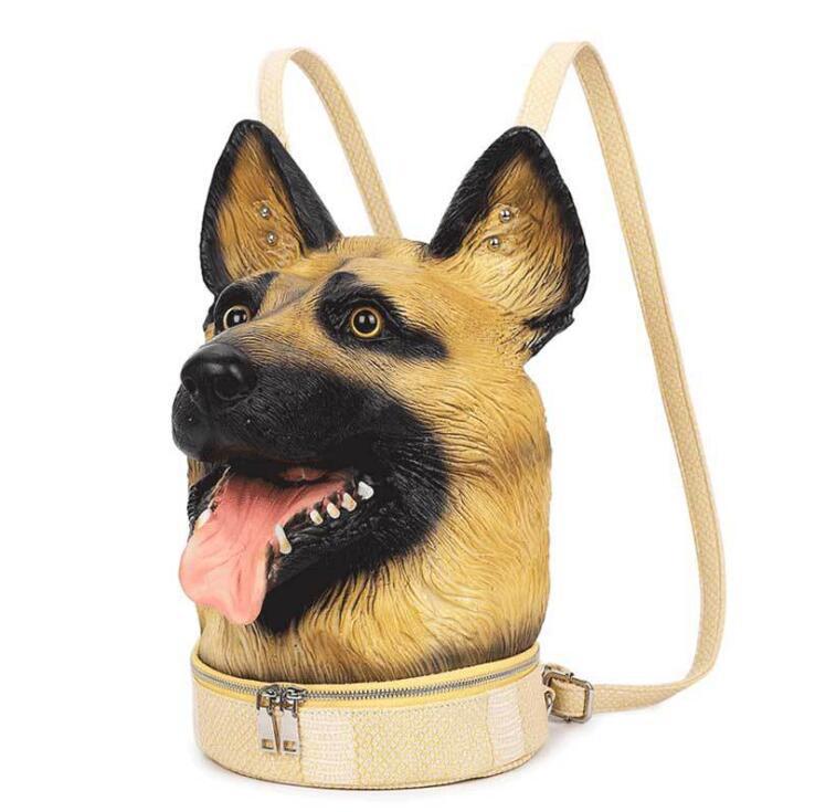 المرأة حقيبة الظهر 3D سيليكون رأس الكلب حقيبة الظهر للسيدات الحيوان حقيبة الكتف على غرار بنات أوقات الفراغ حقيبة السفر 2020