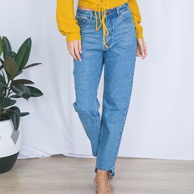 online shop cheaper lace up in Acheter Mode Taille Haute Jeans Droit Femme Belle Pop Automne Lavé Bleu  Denim Pantalon Casual Plus La Taille Jeans Vêtements De $42.98 Du  Losangelesd ...