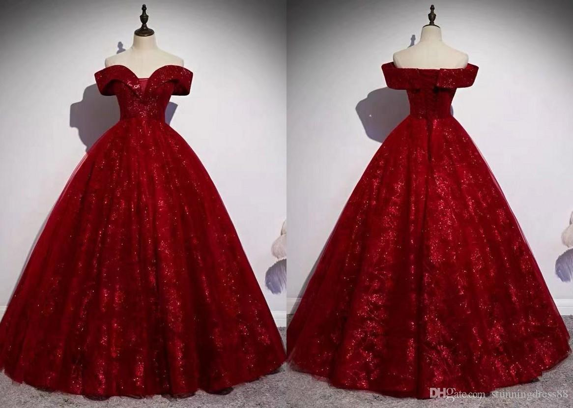 Glitter Burgundy Ball Gown Evening Prom Long Dresses V neck 2021 Sequined Lace Off the shoulder Ruffles Cheap Pageant Prom Dress Cheap