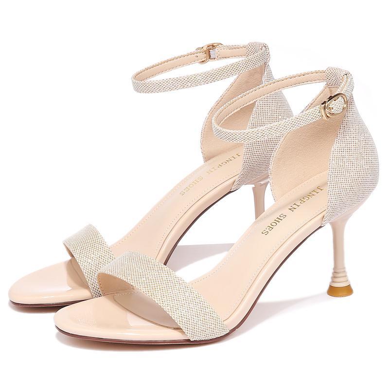 Zapatos de la mujer atractiva del verano Moolecole mujeres sandalias de la hebilla de la correa de OfficeCareer zapatos de tacones altos para las mujeres 2-9567