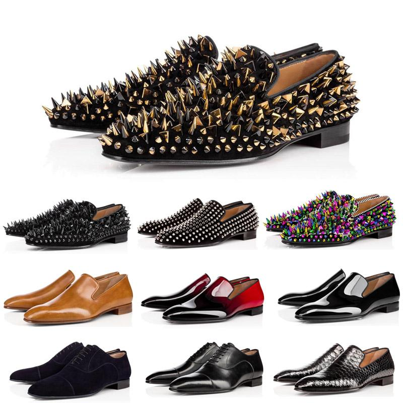2020 Fashion Men rivet Rhinestone Black Party Wedding Shoes Pointed toe flats with small leather shoes men's trend college wind Brock