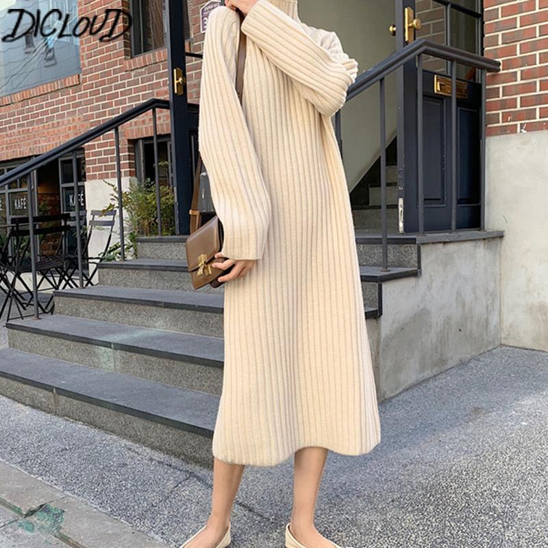 Acheter Dicloud Coreenne Longue En Maille Robes Femmes Dhiver A Manches Longues A Col Roule Robe Pull Femme Elegante Pull Oversize A Ligne De 88 55 Du Qingshuixuan Dhgate Com