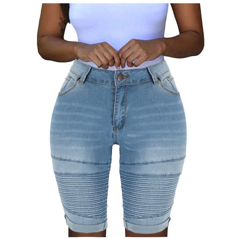 스트라이프 청바지 여성 탄성 파괴 구멍 짧은 바지 높은 허리 데님 반바지 팜므 청바지 Mujer Cintura 알타 # T2G 찢어진