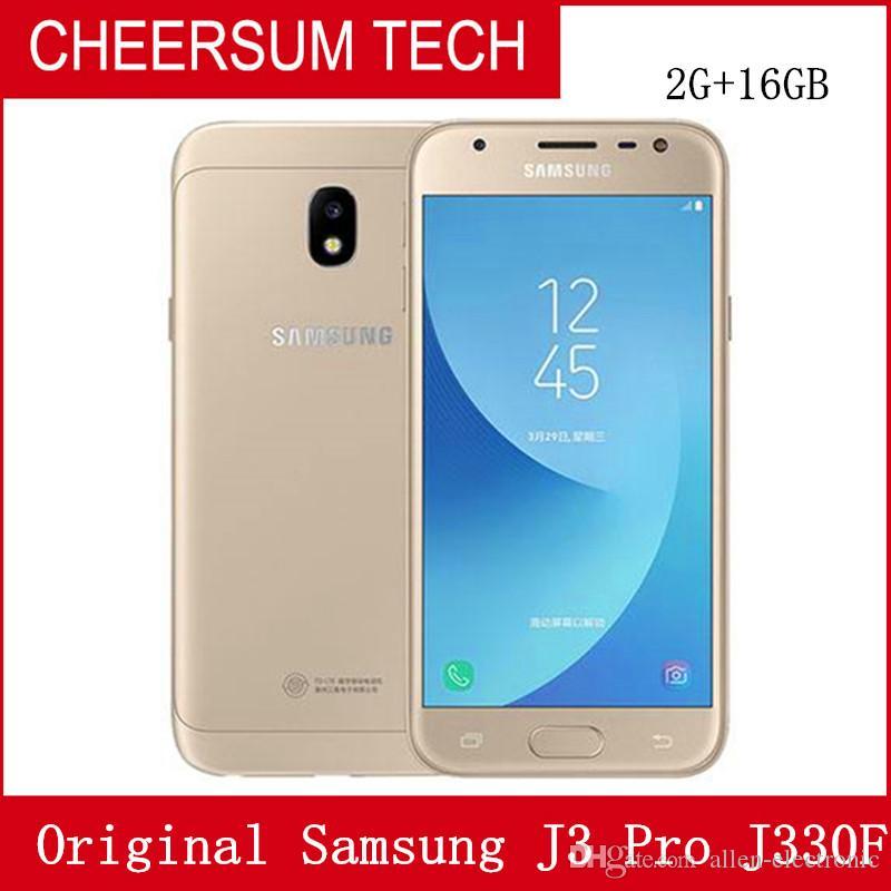 Odnowiony oryginalny Samsung Galaxy J3 Pro SM-J330F 4G Smart Telefon komórkowy Quad Core 2 GB RAM 16 GB ROM Dual Sim Odblokowany Telefon komórkowy Darmowy DHL