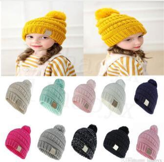 11 Colore Cappello per bambini Solido Colore Solido per bambini Cappello all'uncinetto Bambina Bambina Boy Fashion Winter Warm Hat Cappello Accessori DC912