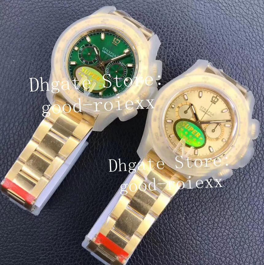 Uomo di lusso Cronografo Cronografo Green Guarda orologio automatico Cal.4130 Giallo oro 904L Acciaio 116508 Cosmografo Uomo Sport Noobf N Factory ETA Orologi