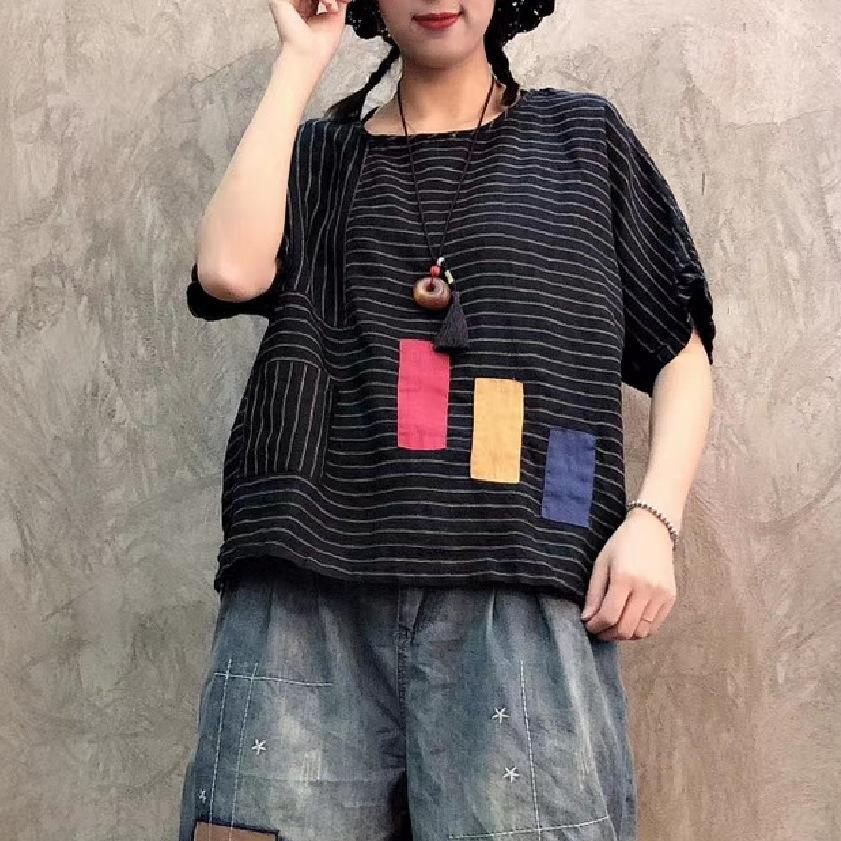 T-shirt novo verão literária retro stripe padrão de camisa de linho das mulheres jovens selvagem era mangas curtas finas