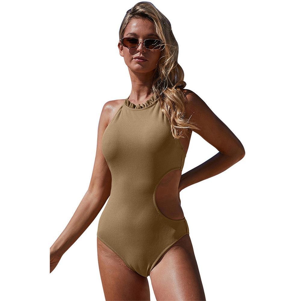Femmes One Piece costumes Lady Halter évider Monokini 50% d'eau Vêtements de sport Femme Équipement Natation Maillots de bain Solide Couleur