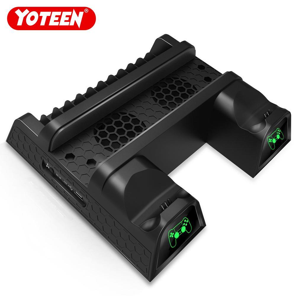 Yoteen multifuncional suporte de resfriamento vertical para ps4 / ps4 slim / ps4 pro dualshock 4 doca de carregamento com 12 pcs discos de armazenamento