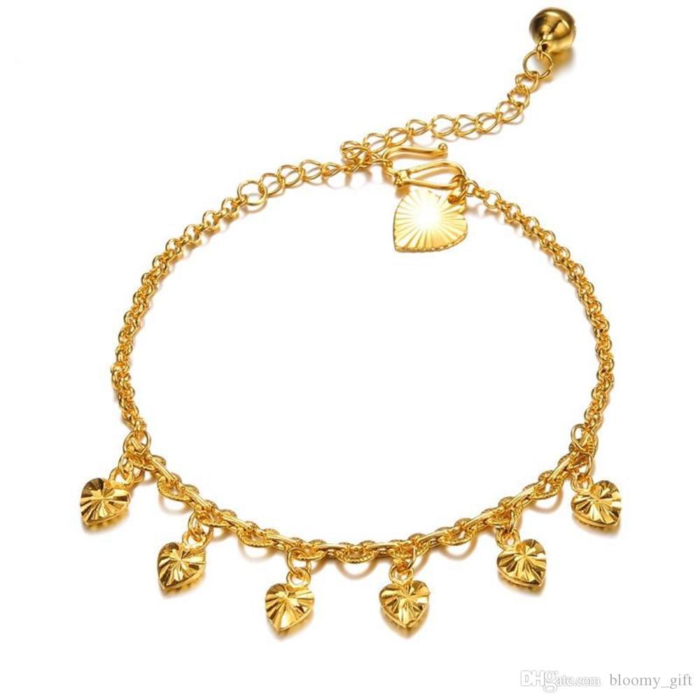 Catena di fascino delle donne Piedi Cuore cavigliera Summer Beach catena oro giallo 18k riempito regalo
