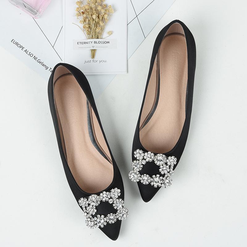 Más size43 mujeres del cuero genuino zapatos de Ballet planos Bling cristal punta estrecha pisos zapatos elegante señora zapatos de boda