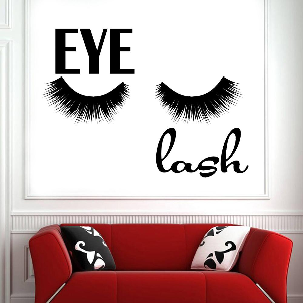 Girl False Eyelashes Vinyl Wall Decal Beauty Salon Makeup eyelash Wall Stickers Removable Indoor Room Decoration Wallpaper