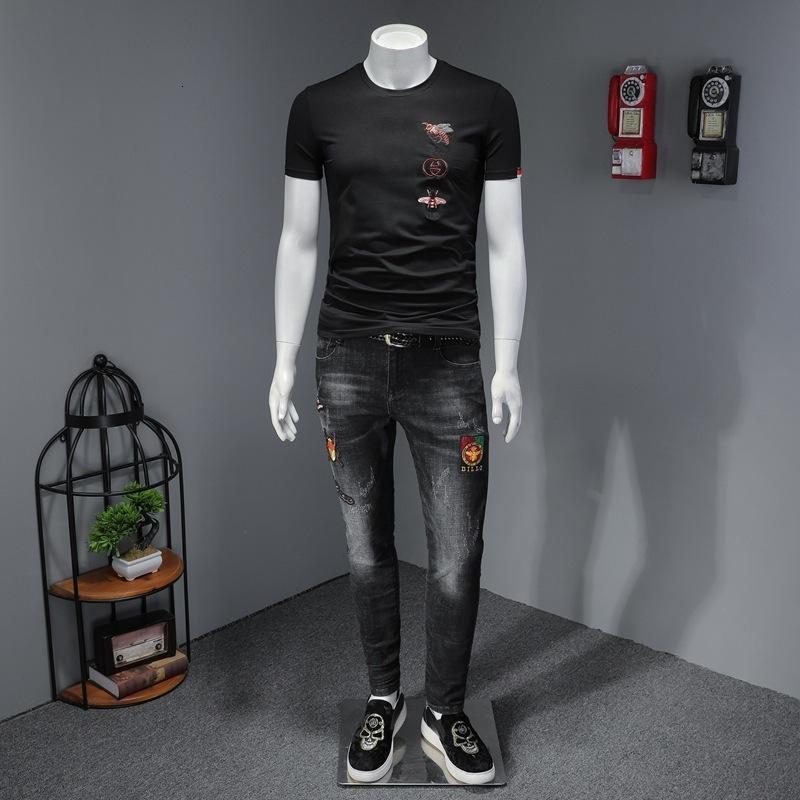2020 hombres de alta calidad de manga corta de moda de verano camiseta casual cómodo cuello redondo camiseta ropa de moda S4JF3SQUTXUH