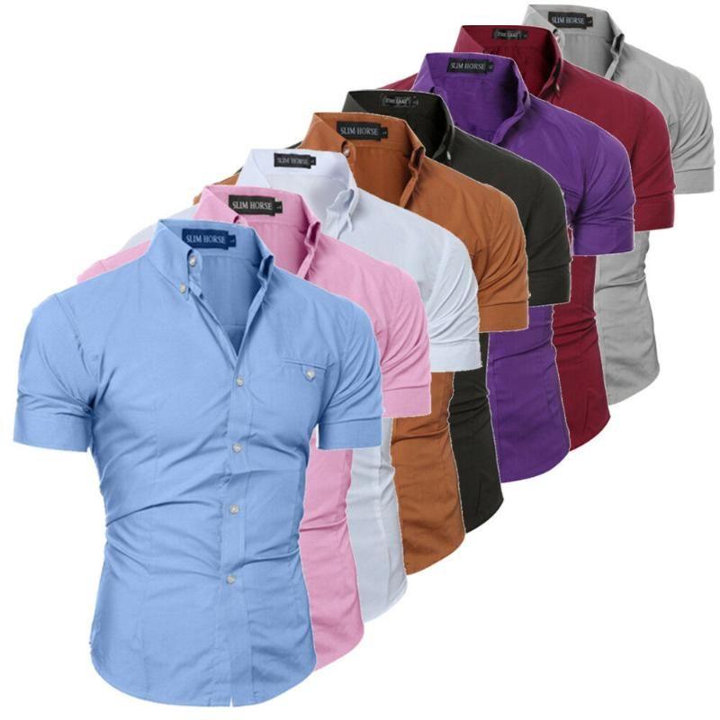 Hirigin Männer Slim Fit Shirt Kurzarm Stilvolle Formal Tops Men Casual Kurzarm-Shirts Buttons Top Bekleidung Fest Plus Size