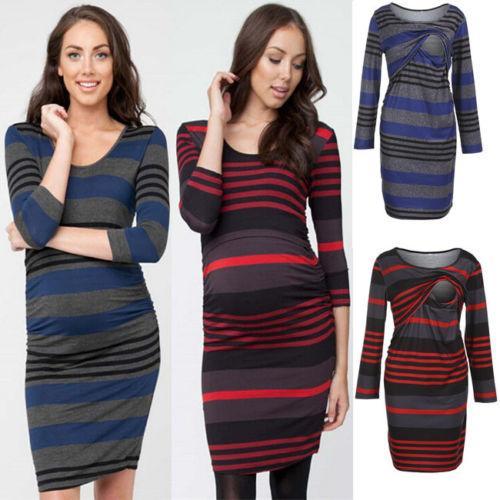 Kadınlar Hamile Hamilelik Hemşirelik Elbise Uzun Kollu BODYCON Silm Stripes Kısa Mini Elbise