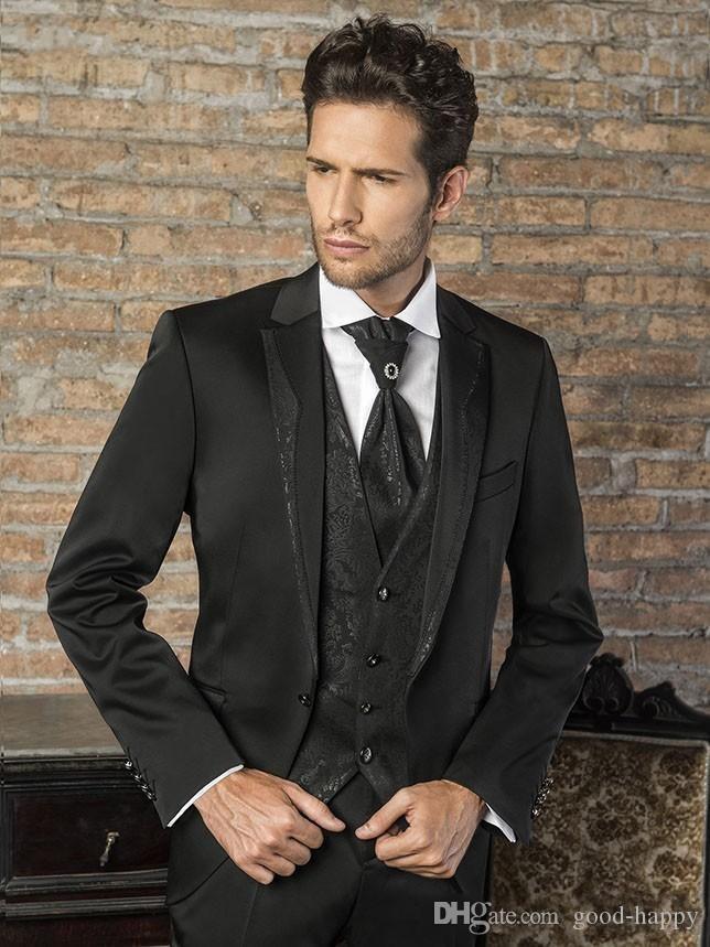 Mode schwarz Bräutigam Smoking Kerbe Revers Groomsman Hochzeit 3 Stück Anzug beliebte Männer Business Jacke Blazer (Jacke + Pants + Tie + Weste) 2661