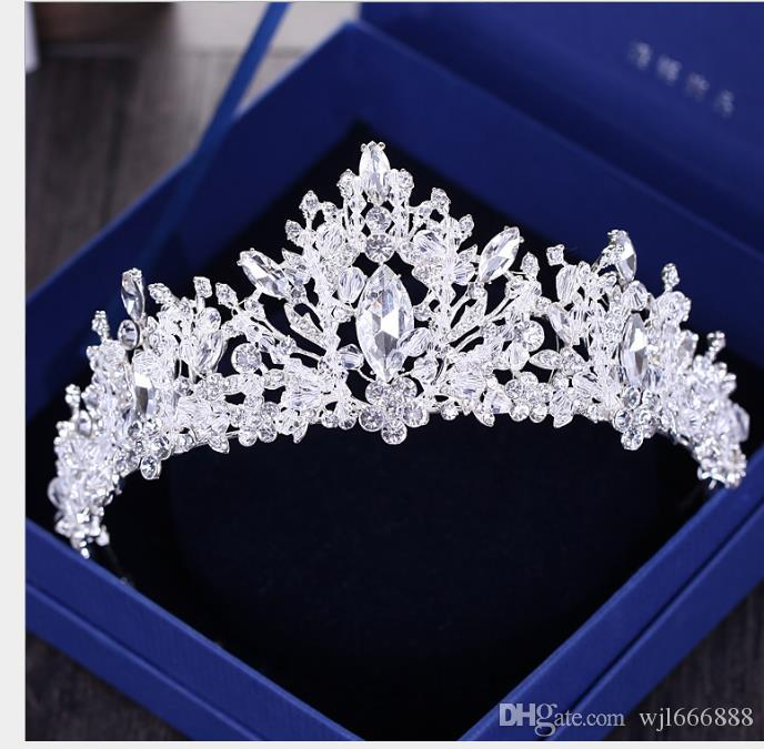 Joyería Corona Headwear Lujo Atmosférico Superflash Crystal Princesa Corona Adorno para el pelo Accesorios de la boda