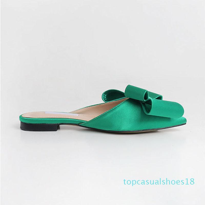 bahar yaz kadın ayakkabı Kore Ipek saten sivri papyon terlik Baotou düz topuk setleri yarı terlik t18