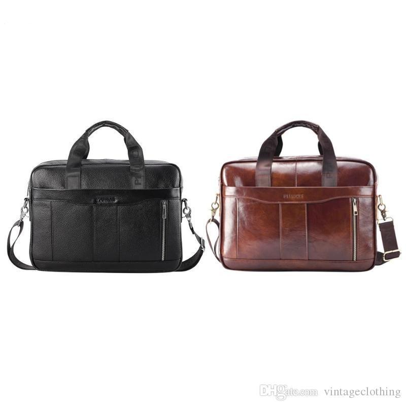 Mens портативный кожаный сумочка офис по окрестностям через плечо кожаный цвет кожаный мешок ноутбук натуральный чистый мужской мессенджер Mncle