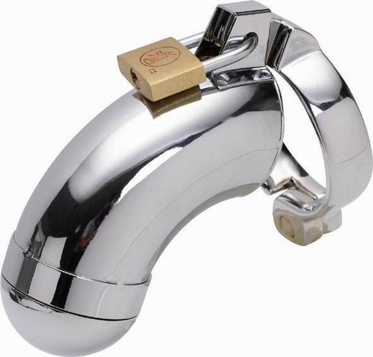Acero inoxidable polla jaula pene manga anillo Metal Castidad dispositivo virginidad bloqueo cinturón SM Bondage adulto juego juguetes sexuales productos