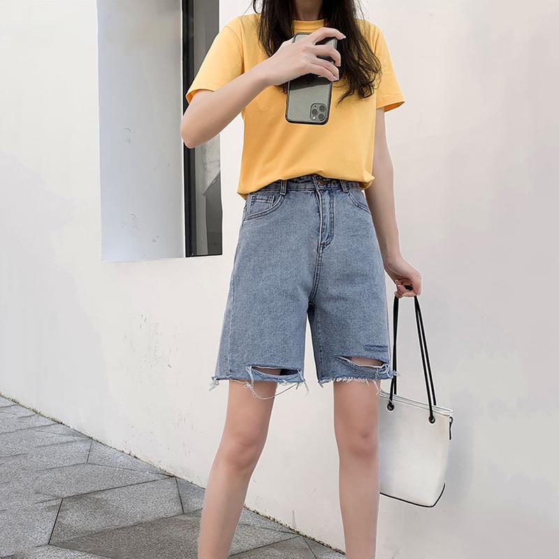 Frauen zerrissene Denim-Shorts Sommer 2020 neue High-taillierte Thin Weit geschnittene Jeans Shorts Frauen beiläufige gerade Knielänge mit weitem Bein