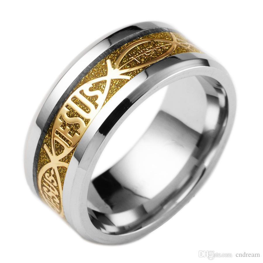 5 Renk Paslanmaz Çelik Christian İSA halka Parmak halka Tırnak Kadınlar Erkekler için Gümüş Altın Bant yüzükler takı Drop Shipping inanın yüzük