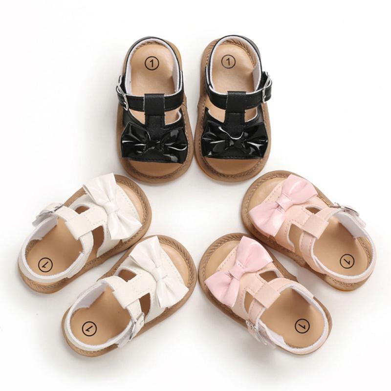 Bébés filles Chaussures en cuir PU Boucle d'abord Walkers avec nœud à semelle souple antidérapante Lit Shoes3