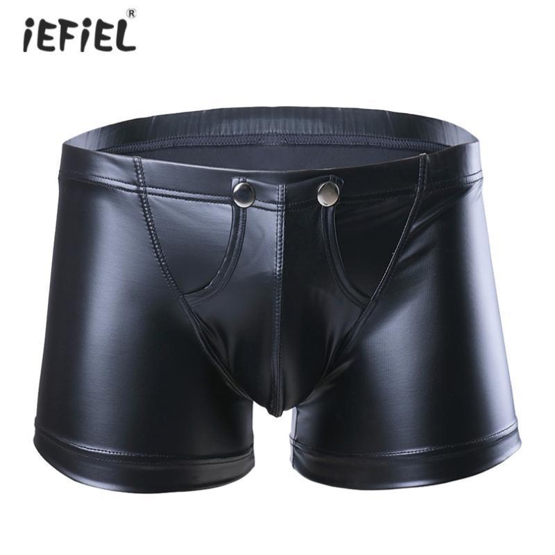 Sexy Mens Low-taillierte Kunstleder-Boxer-Unterwäsche Shorts Bulge Pouch Sissy Panties Unterwäsche-Mann-Boxer Homme Schmal geschnittene Unterhose