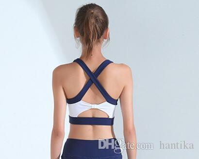 Women Sport Wear 2 Sets yoga bra & pants Sexy strappy design Blue running fitness yoga shorts comfortable Breathable gym fashion activewear