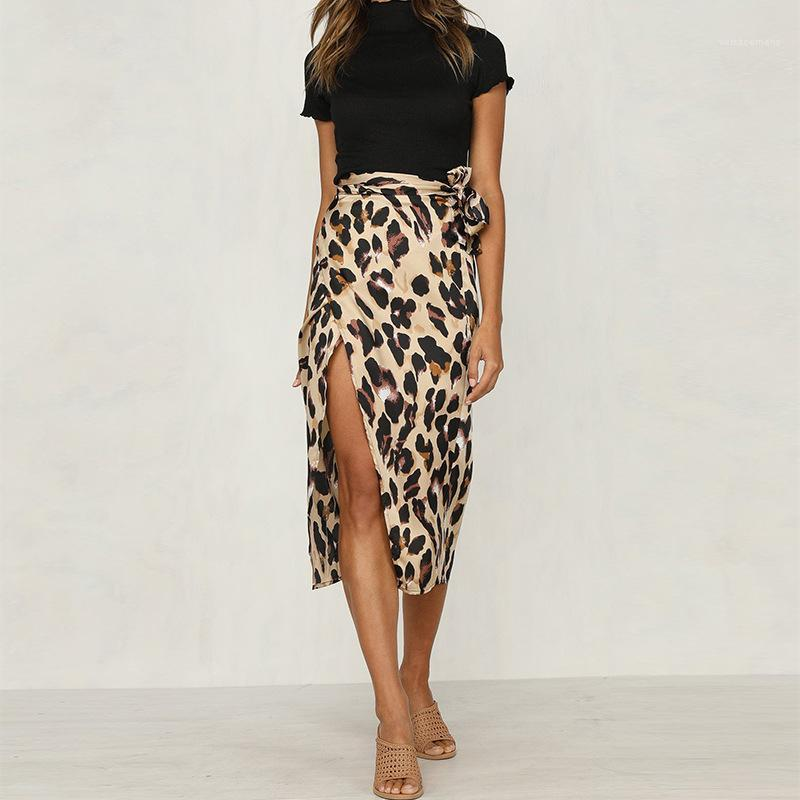 Belt Skirts Leopard Chiffon Womens One Piece Skirts Sexy Panelled Female A Line Skirts Summer Ladies Split