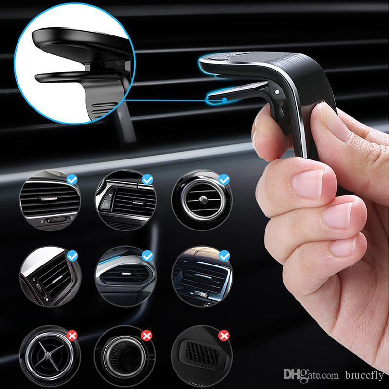 L Tipo de carro Magnetic Phone Holder Air Vent Clipe Telefone Suporte de montagem para o iPhone Samsung Huawei GPS Universal com pacote de varejo