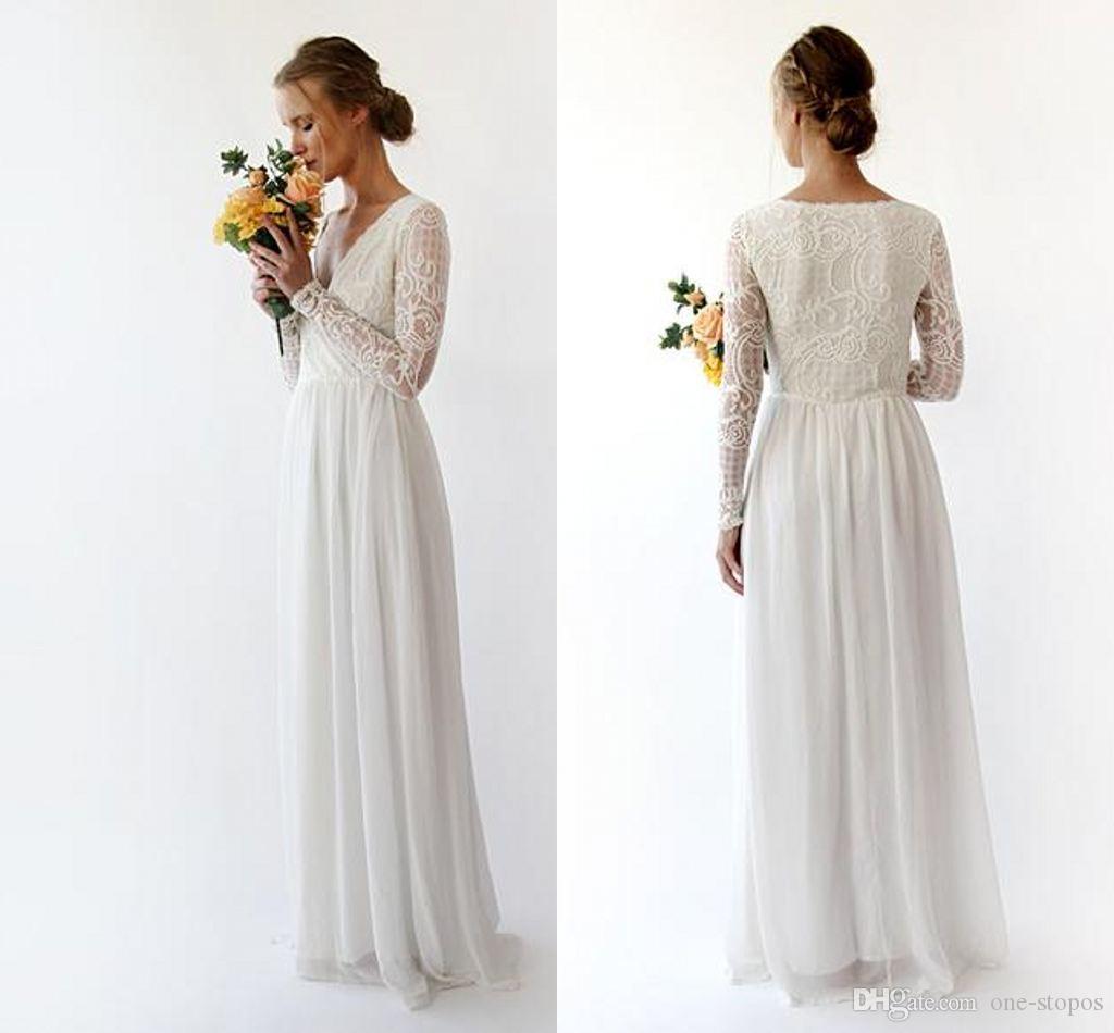 2019 빈티지 긴 소매 A 라인 국가 보헤미안 웨딩 드레스 저렴한 레이스 긴 소매 비치 Boho Bridal Gown Plus 크기