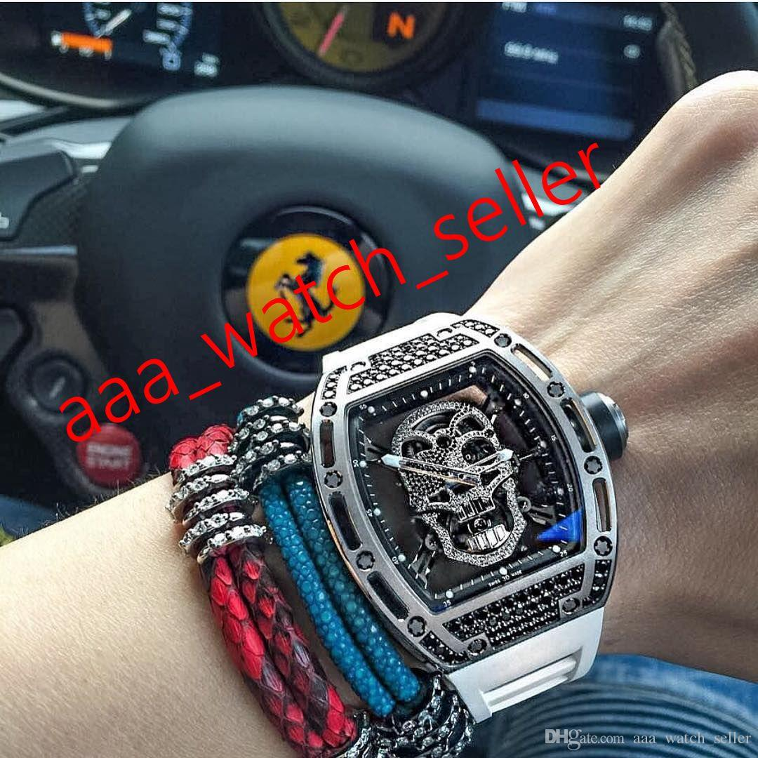 7 стилей Мужские модные часы RM052 Diamond Bezel Outdoorworked Череп Турбийон Механическое автоматическое движение резиновые ремешки роскошные мужские часы