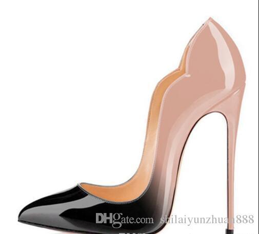 جديد المتطرفة أحمر أسفل حزب أحذية عالية الكعب أحذية للمرأة 12 سنتيمتر الكعوب رقيقة الانزلاق على أحذية السيدات زائد الحجم الأصفر الأزرق الأرجواني cust # 9025