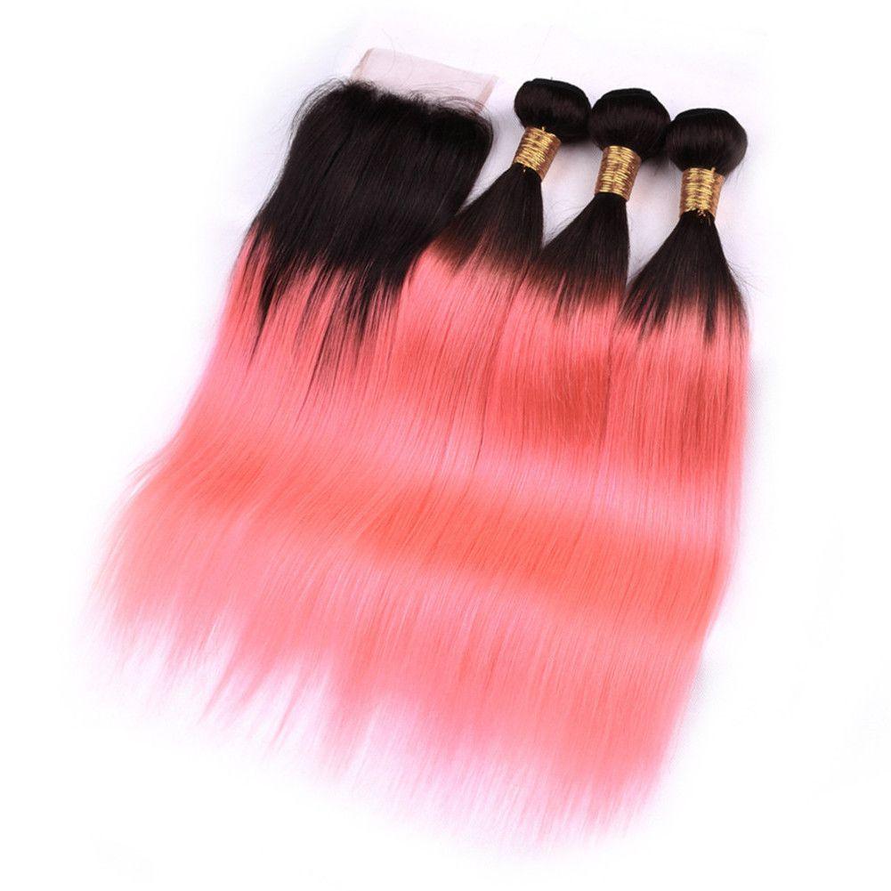 # 1B / Розовый Ombre Прямой перуанский волос 3Bundles и закрытие 4шт Лот Ombre Rose Gold Virgin человеческих волос Плетение Утки с 4x4 Lace Closure