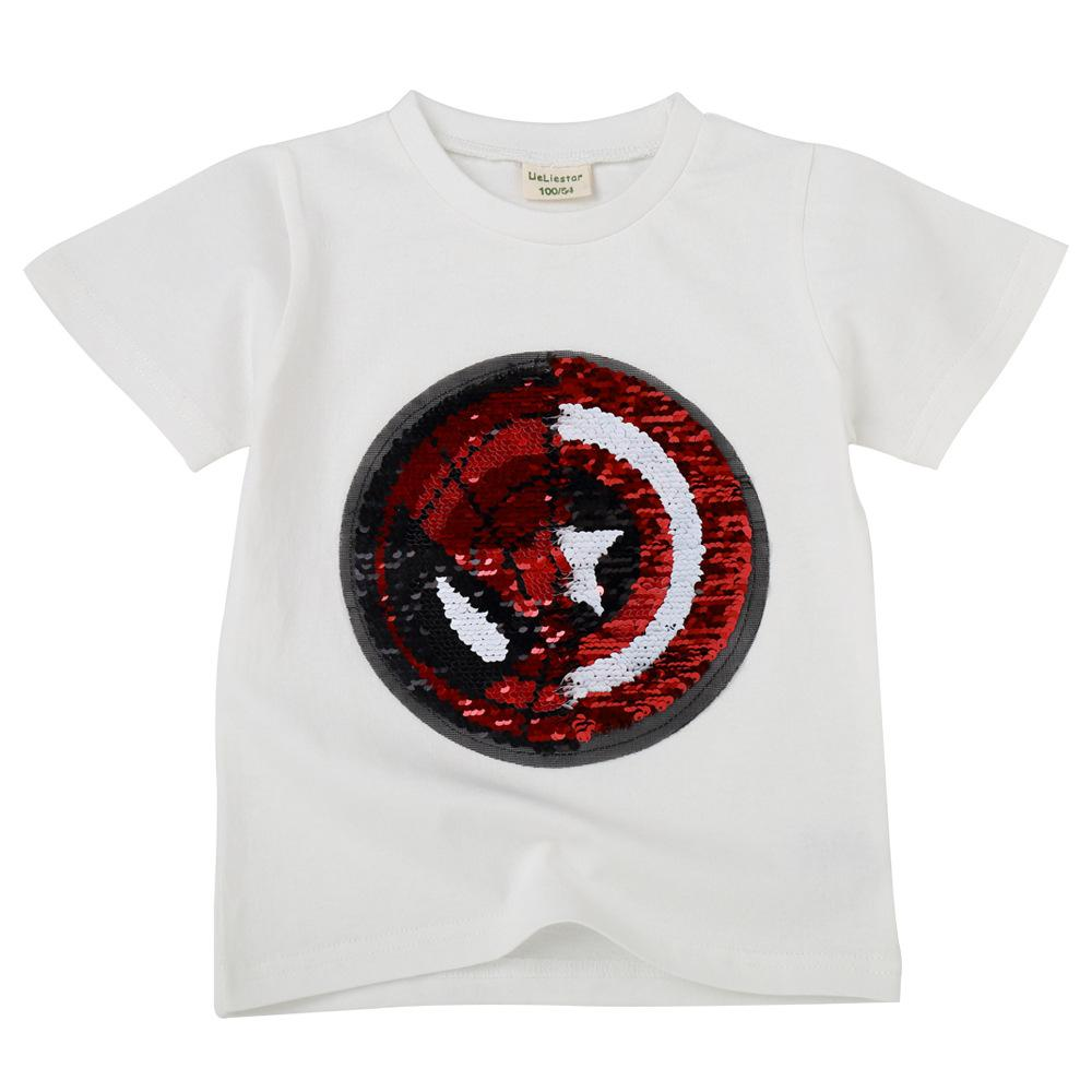 Children's t-shirt summer new style flipping sequins color change face vibrato female treasure boy cotton short-sleeved bottoming shirt