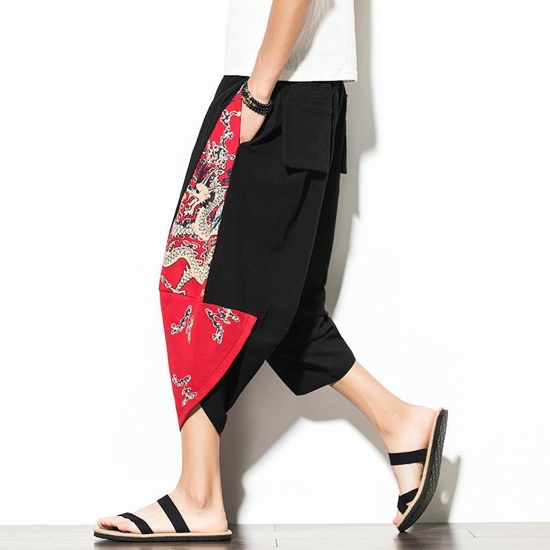 Algodão Capri Masculino Tendência Verão Personalidade finas pés de largura calças perna casual solta antigo Bloomers hip hop elementos chineses