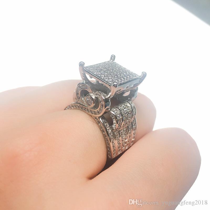 ترف أنثى كامل الماس كبير خاتم 925 الفضة خواتم الزفاف للنساء وعد تمهيد خاتم الخطوبة